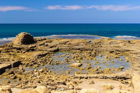 Mediterranean sea coast, Caesarea Maritima Stock Photo