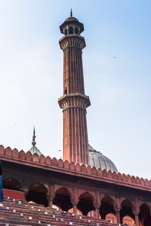 Minaret of the Jama Masjid, Old town of Delhi, India. It is the principal mosque in Delhi Stock Photo