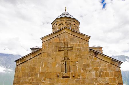 Sameba (Holy Triniti) monastery on the mountain in Georgia