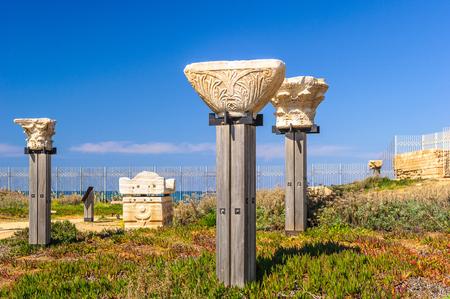 Ruins in Caesarea Maritima, a national park on the Israeli coastline, near the town of Caesarea. Stock Photo