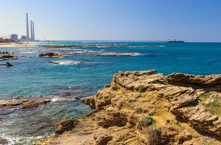 Caesarea Maritima coast, Mediterranean sea, Israel Stock Photo