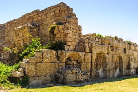 Stones and other ancient ruins of Caesarea Maritima, Mediterranean Sea coast, Israel