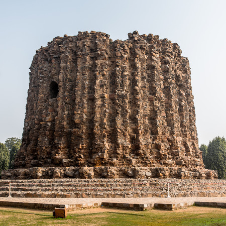 Alai Minar at the Qutb complex (Qutub), an array of monuments and buildings at Mehrauli in Delhi, India. Stock Photo