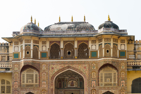 Walls of the Amer Fort (Amber Fort and Amber Palace), a town near Jaipur, Rajasthan state, India.