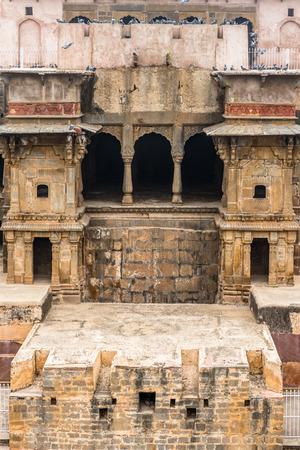 Chand Baori, a stepwell in the village of Abhaneri near Jaipur, state of Rajasthan. Chand Baori was built by King Chanda of the Nikumbha Dynasty
