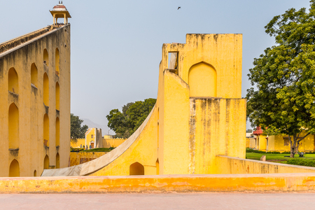 Jantar Mantar, Jaipur, Rajasthan, a collection of 19 architectural astronomical instruments completed in 1738. UNESCO World Heritage Stock Photo