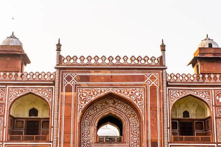 Gate to the Itmad-Ud-Daulah Mausoleum (Jewel Box or the Baby Taj) in Agra, Uttar Pradesh, India. It was referred as a draft for Taj Mahal Stock Photo