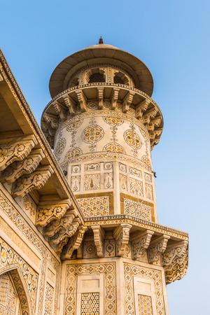 Minaret of the Itmad-Ud-Daulah Mausoleum (Jewel Box or the Baby Taj) in Agra, Uttar Pradesh, India. It was referred as a draft for Taj Mahal Editorial