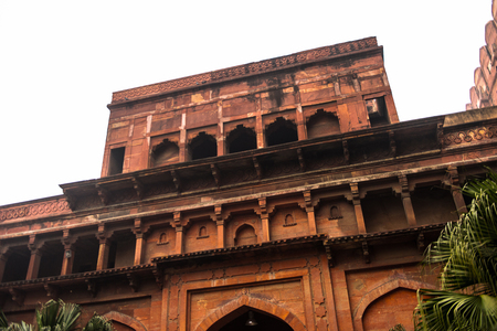 Walls of the Red Fort of Agra, India. UNESCO World Heritage site.
