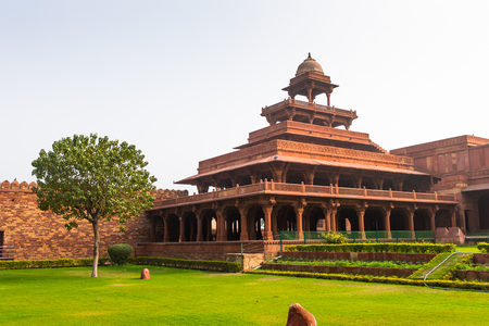 Panch Mahal at the Fatehpur Sikri, a city in the Agra District of Uttar Pradesh, India.