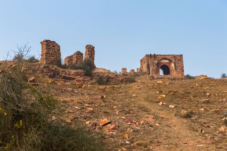 Ruins around the Fatehpur Sikri, a city in the Agra District of Uttar Pradesh, India. Stock Photo