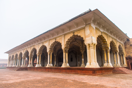 Agra Fort Diwan I Am (Hall of Public Audience) at the Red Fort of Agra, India. UNESCO World Heritage site. Editorial