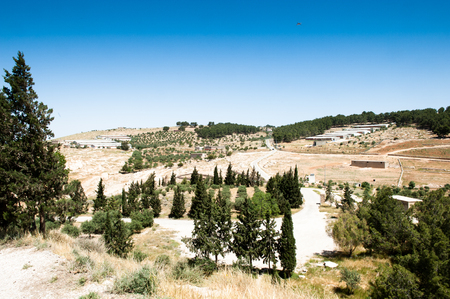 Holy Land, view from the Mount Nebo, the place where Moses was granted a view of the Promised Land that he would never enter. Stock Photo
