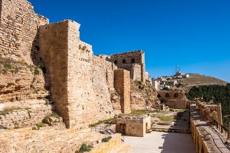 Kerak Castle, a large crusader castle in Kerak (Al Karak) in Jordan. Stock Photo