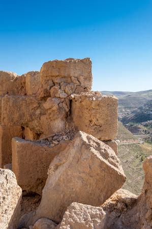 Ruins of the Kerak Castle, a large crusader castle in Kerak (Al Karak) in Jordan. Stock Photo