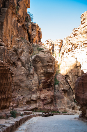 Canyon of Petra (Rose City), Jordan. Petra is one of the New Seven Wonders of the World.