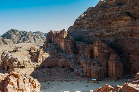 Beautiful red rock formations in Petra (Rose City), Jordan. Petra is one of the New Seven Wonders of the World. Stock Photo