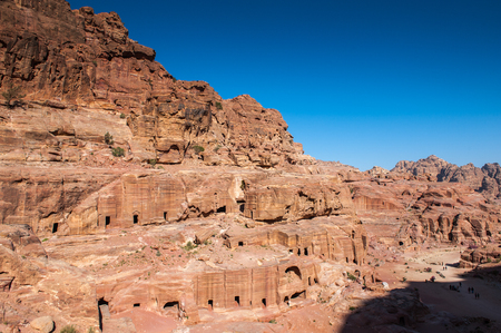 Beautiful landscape of Petra (Rose City), Jordan. Petra is one of the New Seven Wonders of the World. UNESCO World Heritage