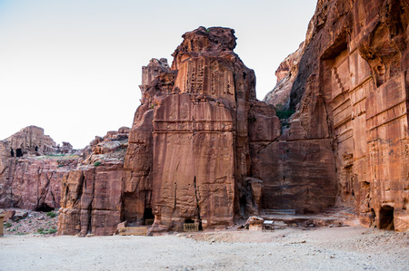 One of the multiple tombs in Petra (Rose City), Jordan. Petra is one of the New Seven Wonders of the World. Stock Photo