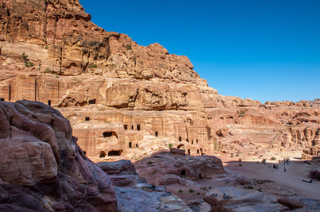 Red mountains in Petra (Rose City), Jordan. Petra is one of the New Seven Wonders of the World.