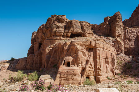 Nature, rocks, mountains and panorama of Petra, Jordan. Petra is one of the New Seven Wonders of the World.