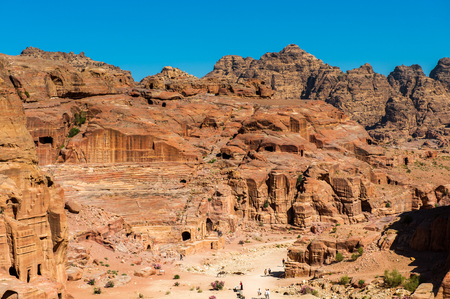 Nature, rocks, mountains and panorama of Petra, Jordan. Petra is one of the New Seven Wonders of the World. UNESCO World Heritage Stock Photo