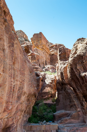Rocks in Petra (Rose City), Jordan. The city of Petra was lost for over 1000 years. Now one of the Seven Wonders of the Word