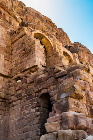 Ancient rock cut architecture in Petra (Rose City), Jordan. The city of Petra was lost for over 1000 years. Now one of the Seven Wonders of the Word