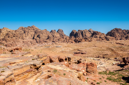 Landscape of mountains in Petra (Rose City), Jordan. Petra is one of the New Seven Wonders of the World.