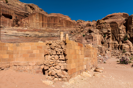 Ancient theater in Petra (Rose City), Jordan. Petra is one of the New Seven Wonders of the World.