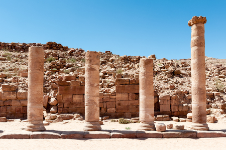 Colonade road in Petra (Rose City), Jordan. The city of Petra was lost for over 1000 years. Now one of the Seven Wonders of the Word Stock Photo