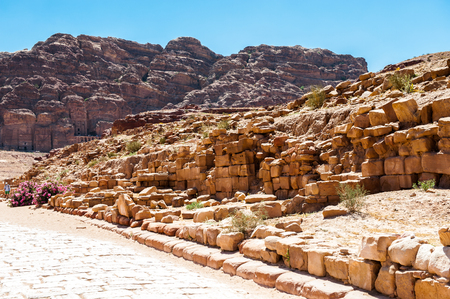 Ancient ruins in Petra (Rose City), Jordan. The city of Petra was lost for over 1000 years. Now one of the Seven Wonders of the Word Stock Photo