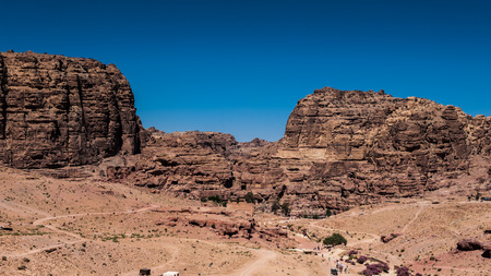 Canyon in Petra (Rose City), Jordan. The city of Petra was lost for over 1000 years. Now one of the Seven Wonders of the Word