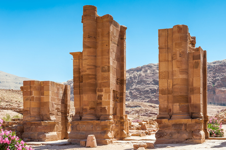 Cardo Maximum in Petra (Rose City), Jordan. The city of Petra was lost for over 1000 years. Now one of the Seven Wonders of the Word Stock Photo