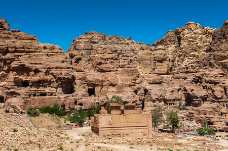Rock in Petra (Rose City), Jordan. The city of Petra was lost for over 1000 years. Now one of the Seven Wonders of the Word Stock Photo