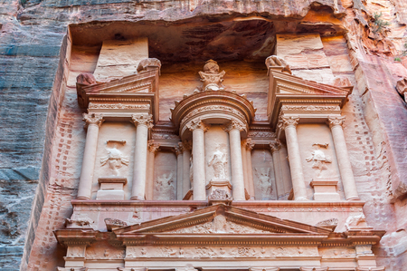 Al Khazneh or The Treasury at Petra, Jordan. Petra is one of the New Seven Wonders of the World.