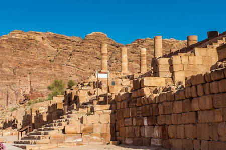 Architecture in Petra. The city of Petra was lost for over 1000 years. Now one of the Seven Wonders of the Word