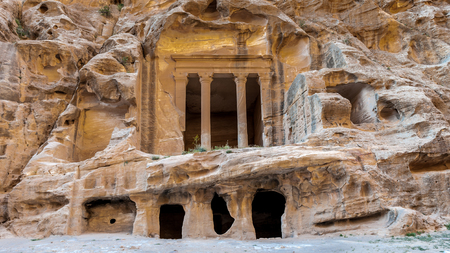 Nabataean delubrum of the Siq al-Barid (Little Petra) in Jordan.