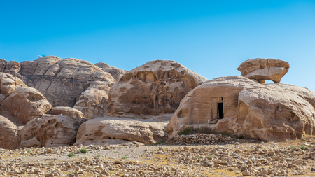 Rocks of Beidha, a major Neolithic archaeological site Stock Photo