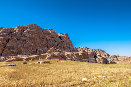 Mountains of Beidha, a major Neolithic archaeological site Stock Photo