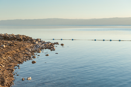 Coast of the Dead Sea, Israel, the deepest hypersaline lake in the world. With 33.7% salinity, Stock Photo