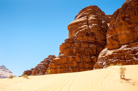 Desert of the Wadi Rum, The Valley of the Moon,  southern Jordan.