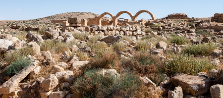 Ruins of a Roman house in Umm ar-Rasas,an archeological site in Jordan. Stock Photo