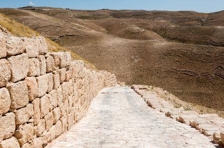 Road to the Herod Castle ruins, Machaerus, fortified hilltop palace in Jordan