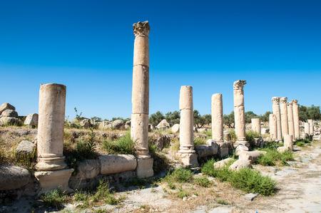 Roman columns of the ancient city of Gadara, modern Jordan Stock Photo