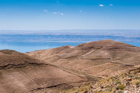 Hills of Jordan with the Dead Sea background Stok Fotoğraf