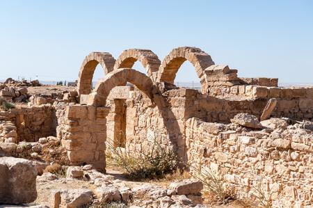 Ruins of a Roman house in Umm ar-Rasas,an archeological site in Jordan. 스톡 콘텐츠