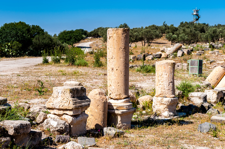 Roman colums of the ancient city of Gadara, modern Jordan