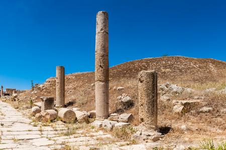Columns of the cardo maximus, Ancient Roman city of Gerasa, modern Jerash, Jordan