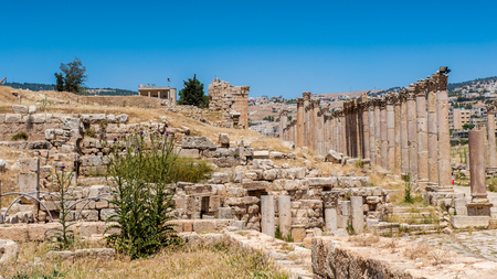 Columns in the Ancient Roman city of Gerasa, modern Jerash, Jordan Stock Photo